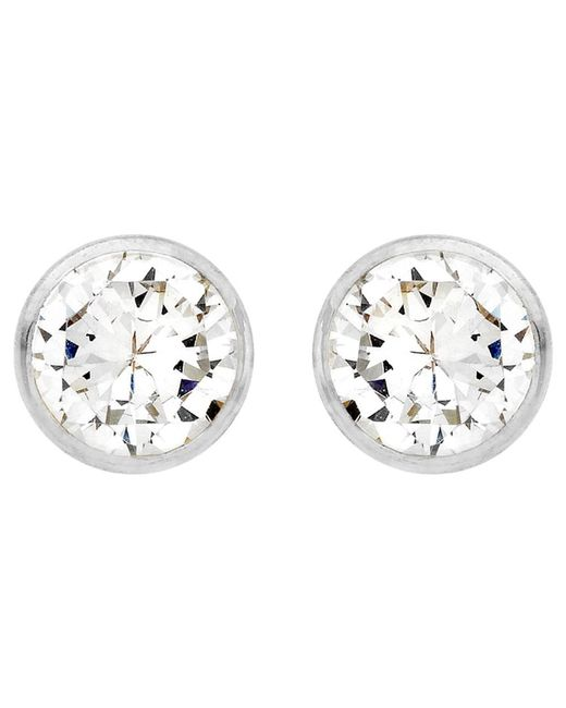 Ib&b | Metallic 9ct White Gold Round Cubic Zirconia Stud Earrings | Lyst