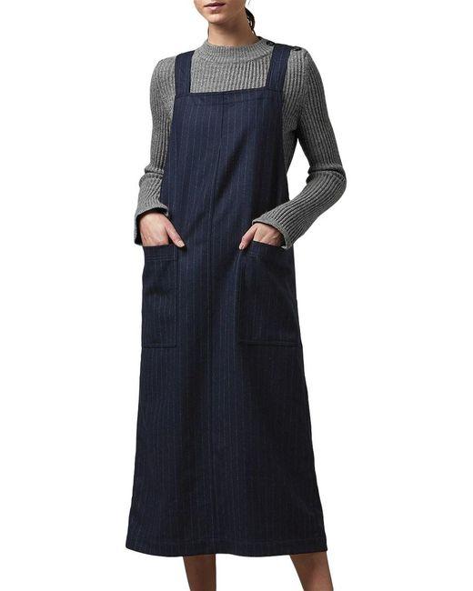 Toast | Blue Pinstripe Wool Apron Dress | Lyst