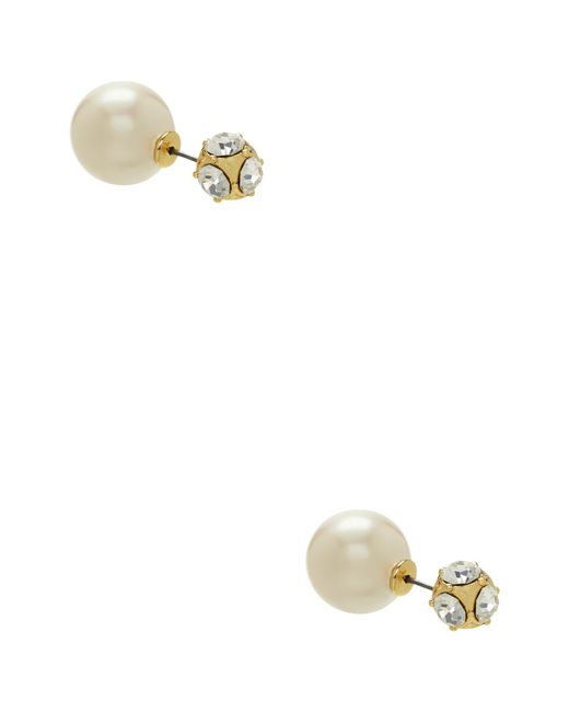 Kate Spade | Metallic Glass Stone And Faux Pearl Reversible Stud Earrings | Lyst
