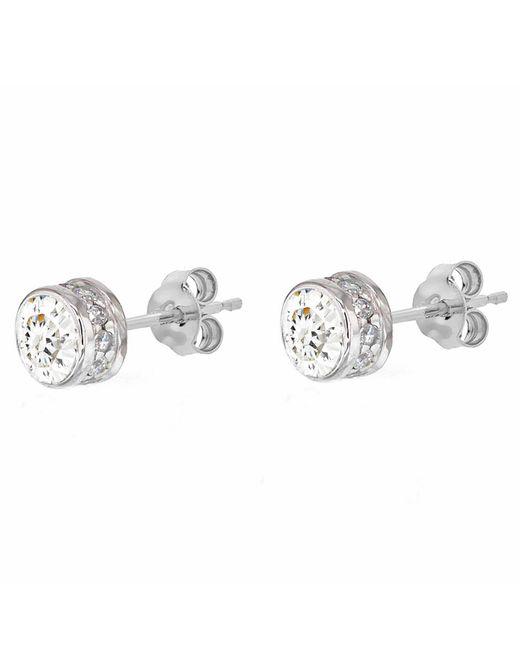 Ib&b   Metallic 9ct White Gold Medium Cubic Zirconia Stud Earrings   Lyst