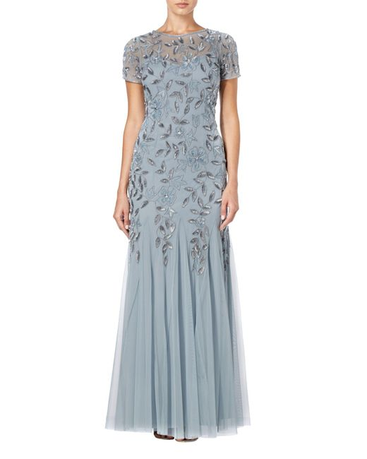 Adrianna Papell - Blue Floral Beaded Godet Dress - Lyst