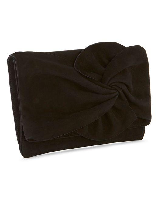 Karen Millen Suede Bow Clutch Bag In Black Lyst