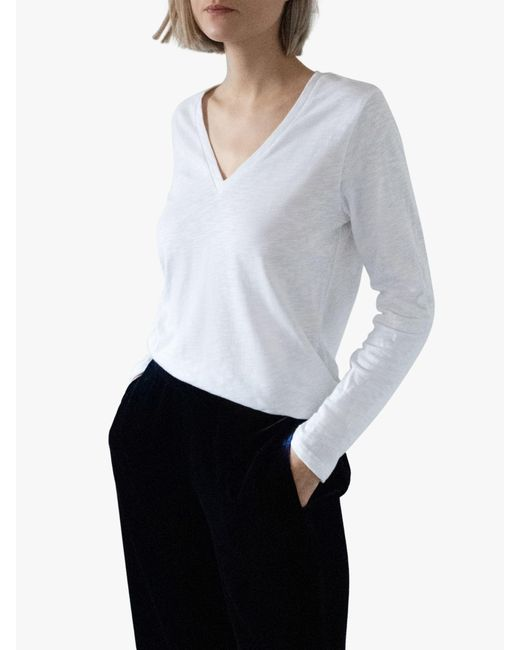 Nrby White Jamie Long Sleeved Cotton T-shirt