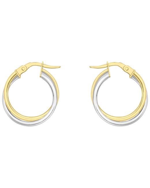Ib&b | Metallic 18ct Gold Two Colour Double Tube Creole Earrings | Lyst