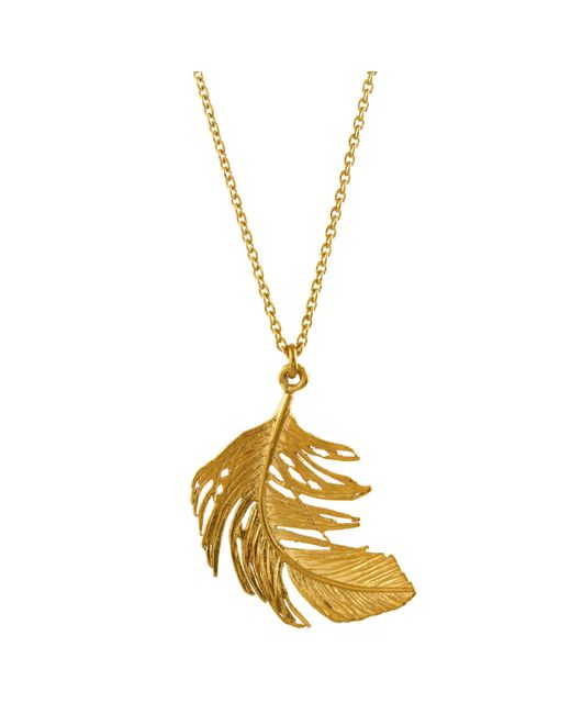 Alex Monroe - Metallic Big Single Feather Pendant Necklace - Lyst