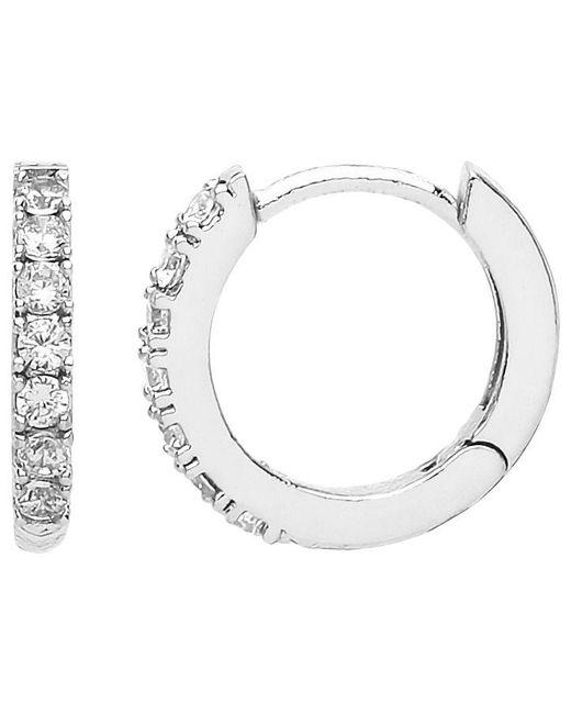 Estella Bartlett - Metallic Silver Pave Set Hoop Earrings - Lyst
