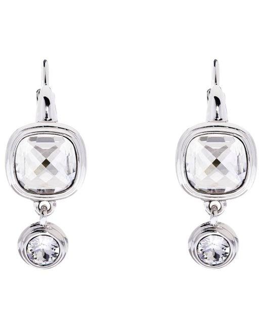 Karen Millen | Metallic Milano Swarovski Crystal Double Drop Earrings | Lyst