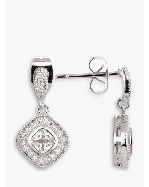 Ivory & Co. Metallic Regent Square Cubic Zirconia Pave Drop Earrings