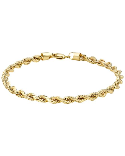 Ib&b   Metallic 9ct Yellow Gold Hollow Diamond-cut Rope Bracelet   Lyst