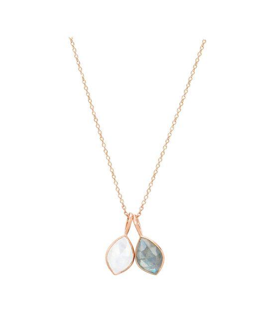 Auren | Metallic 18ct Rose Gold Vermeil Labradorite And Rainbow Moonstone Double Marquise Pendant Necklace | Lyst