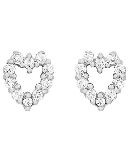 Ib&b - Metallic 9ct White Gold Small Heart Stud Earrings - Lyst
