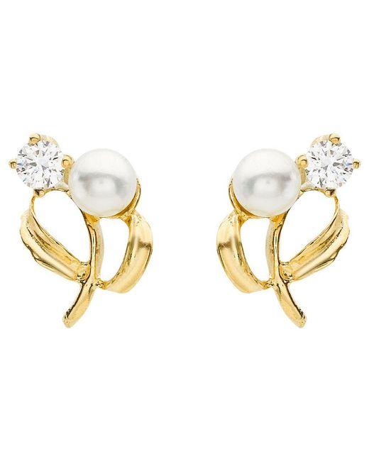 Ib&b - 9ct Yellow Gold Pearl Cubic Zirconia Stud Earrings - Lyst