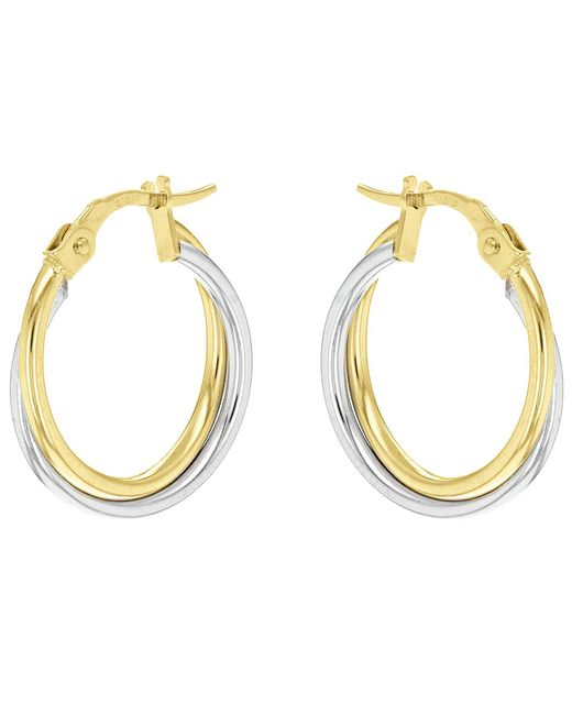 John Lewis - Metallic Ibb 18ct Gold Two Colour Double Tube Creole Earrings - Lyst