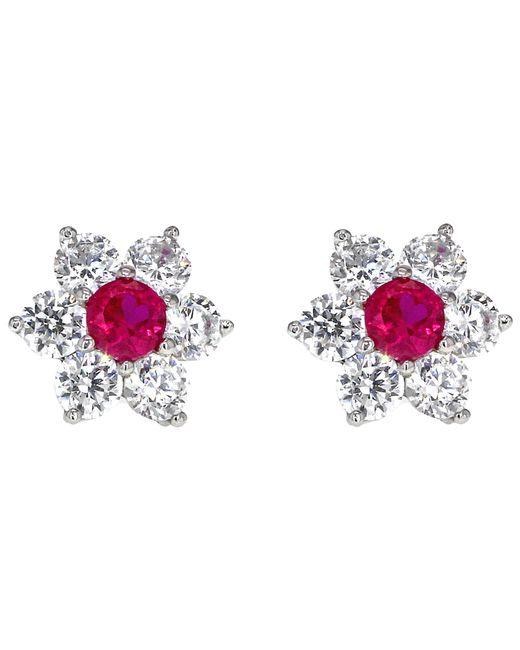 Ib&b - Pink 9ct White Gold Flower Cluster Stud Earrings - Lyst