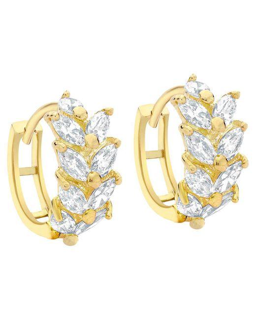 Ib&b - Metallic 9ct Yellow Gold Leaf Cluster Huggy Hoop Earrings - Lyst