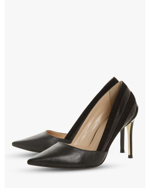 d6fd657ed3e3 ... Dune - Black Barrelle Panel Detail Pointed Court Shoes - Lyst ...