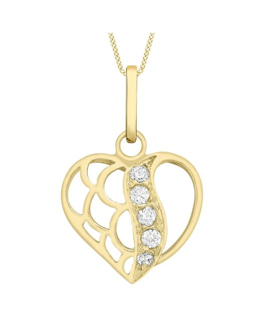 Ib&b - Metallic 9ct Gold Cubic Zirconia Open Heart Pendant - Lyst