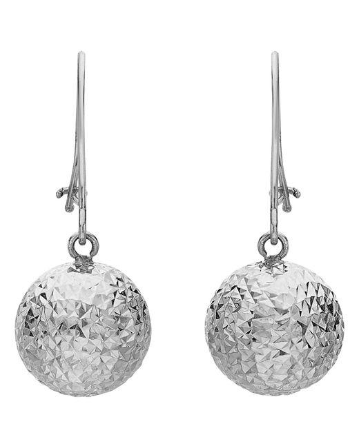 Ib&b | Metallic 9ct White Gold Ball Diamond-cut Drop Earrings | Lyst