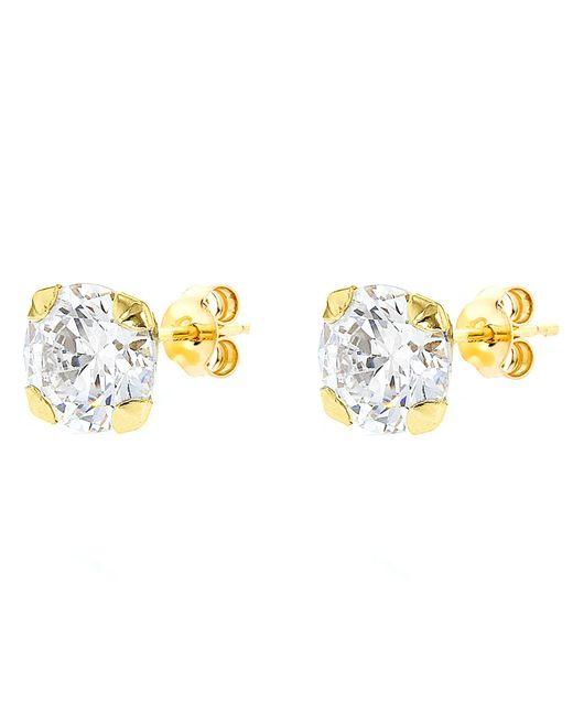 John Lewis - Metallic 9Ct Gold Round Cubic Zirconia Stud Earrings - Lyst