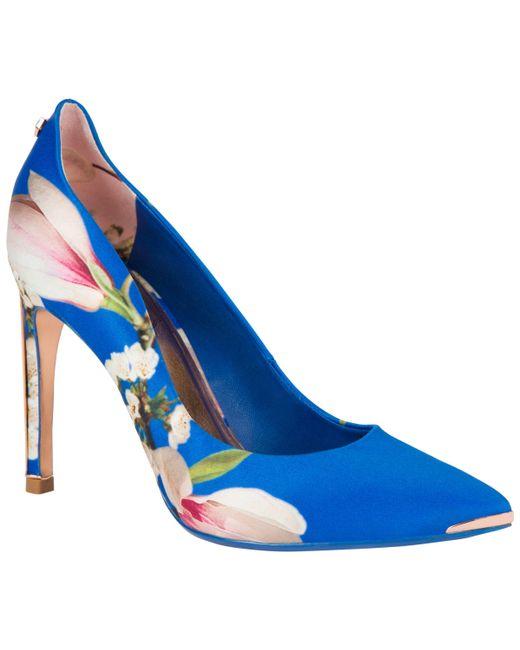 c9938af36 ... Ted Baker - Blue Hallden Textile Heel Court Shoes - Lyst