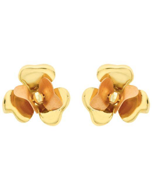 Ib&b   9ct Yellow Gold Flower Stud Earrings   Lyst