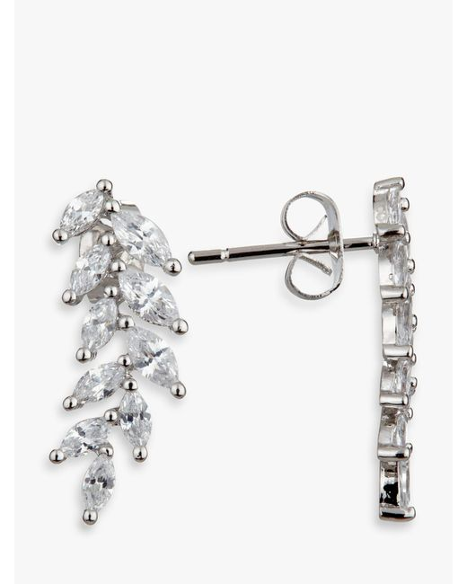 Ivory & Co. Metallic Icon Marquise Cubic Zirconia Cluster Drop Earrings