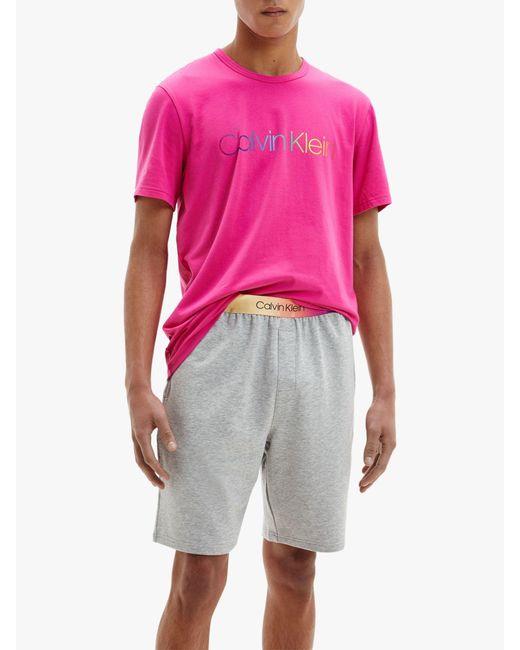 Calvin Klein Pink Pride Pyjama Sleep Set for men
