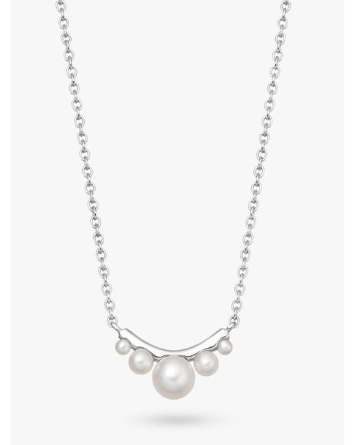 Links of London Metallic Sterling Silver & Pearl Curved Necklace