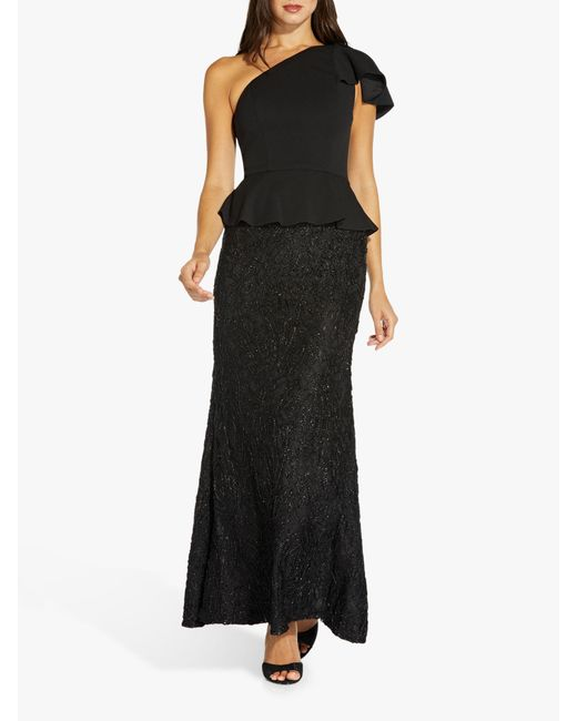 Adrianna Papell Black Mermaid Embellished Maxi Gown