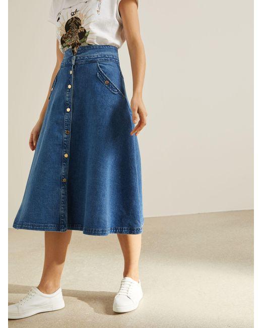 Somerset by Alice Temperley Blue Flared Midi Denim Skirt