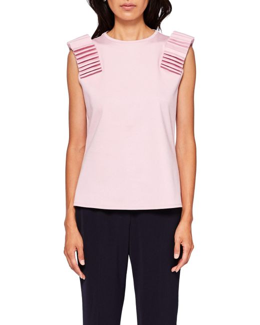 Ted Baker | Pink Isana Sculpted Shoulder Top | Lyst
