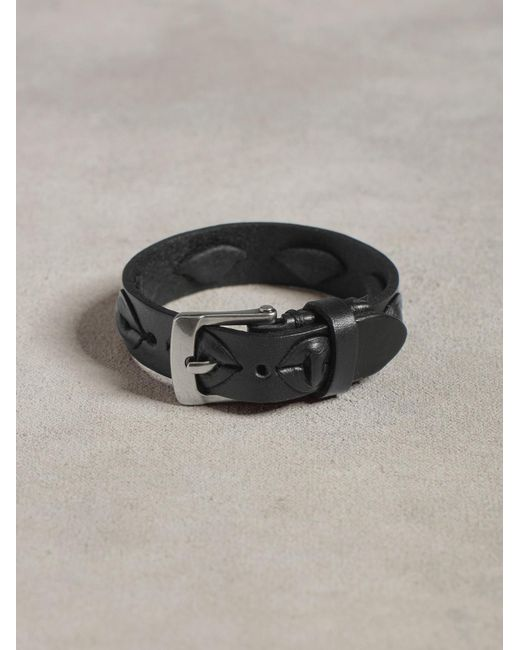 John Varvatos | Black Leather Cuff With Laced Detail for Men | Lyst
