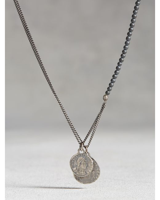 John Varvatos | Metallic Hematite Beaded Necklace With Coins for Men | Lyst
