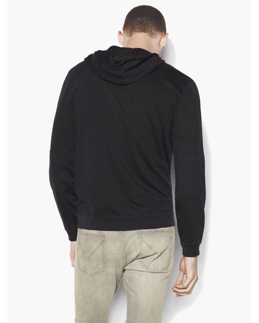 John Varvatos Star USA Men/'s Long Sleeve Faded Zip Front Hoodie Zip Pocket Black
