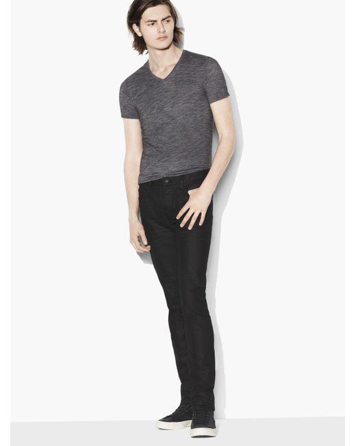 John Varvatos Black Wight Coated Cotton Stretch Jean for men