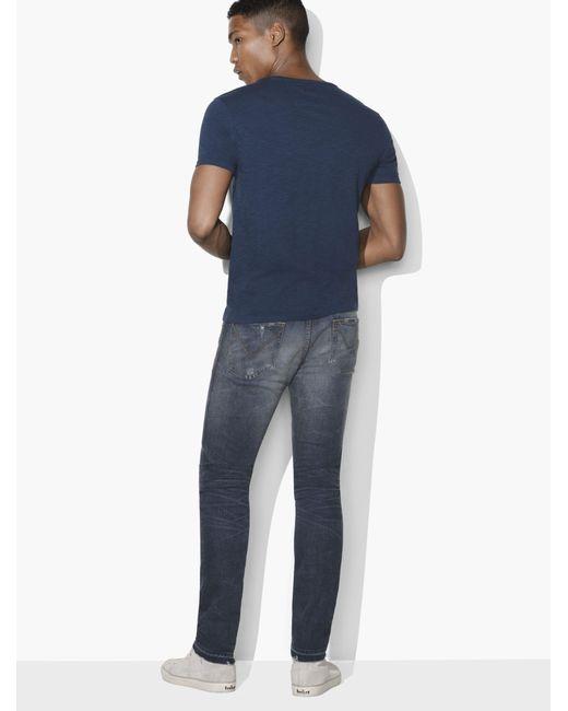 John Varvatos Star USA Men/'s Short Sleeve Panther Lace Stitch Crew T-Shirt Navy
