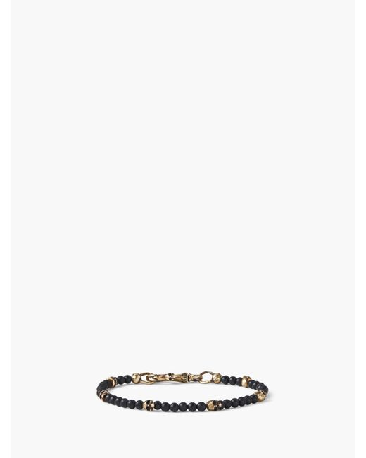 John Varvatos Black Brass Skull Beads And 4mm Color Beads Bracelet for men
