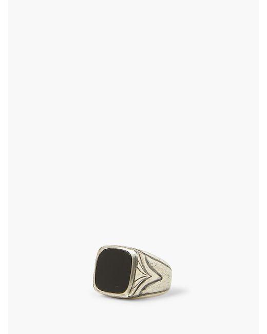 John Varvatos Black Onyx & Silver Ring for men