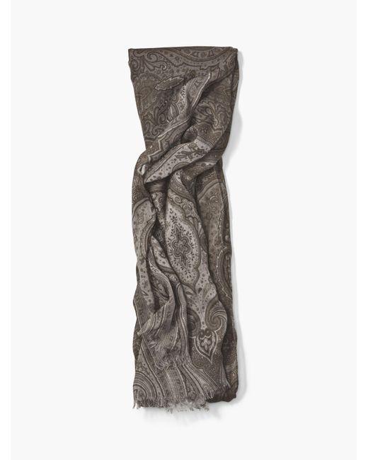 John Varvatos | Gray Crinkle Paisley Scarf for Men | Lyst