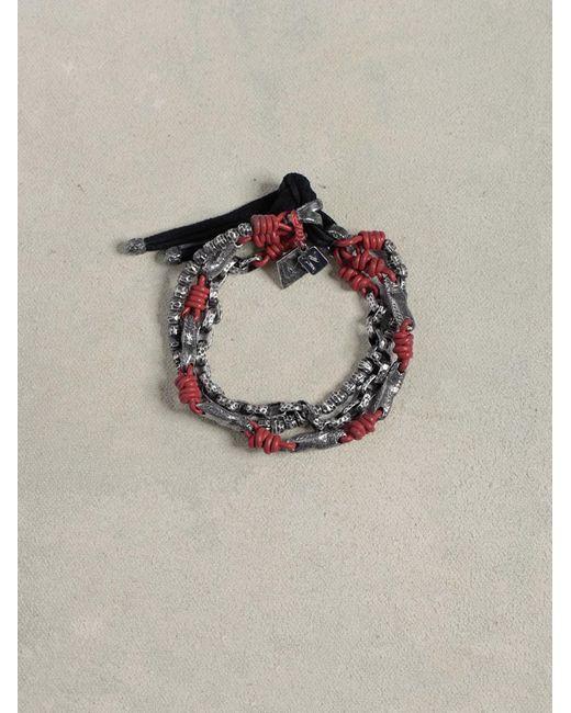 John Varvatos | Red Leather & Silver Mix Bracelet for Men | Lyst