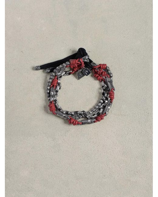 John Varvatos | Purple Leather & Silver Mix Bracelet for Men | Lyst