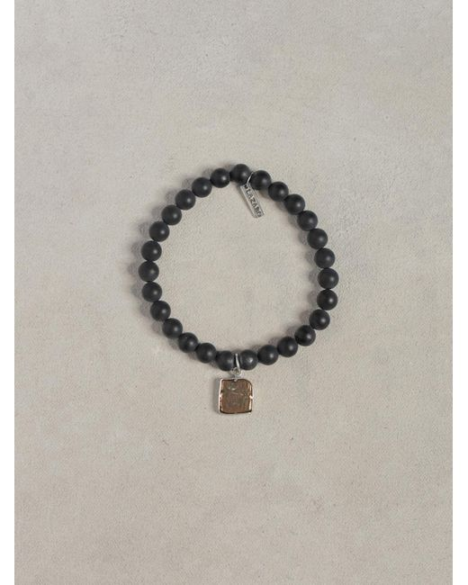 John Varvatos | Black Onyx Bead Coin Bracelet for Men | Lyst