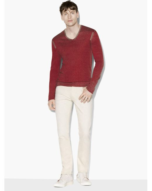 John Varvatos - Red Artisan V-neck Sweater for Men - Lyst