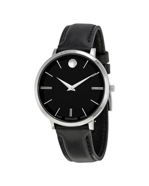 Movado Ultra Slim Black Sunray Dial Ladies Watch