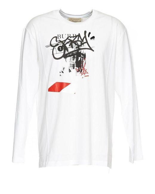 Burberry Mens White Logo Print Sweatshirt, Brand for men