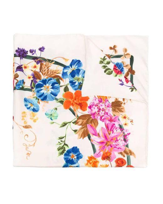 Ferragamo Multicolor Floral Gancini Print Silk Scarf