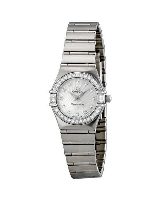 Omega Metallic Constellation 160 Years White Mother Of Pearl Dial Ladies Watch