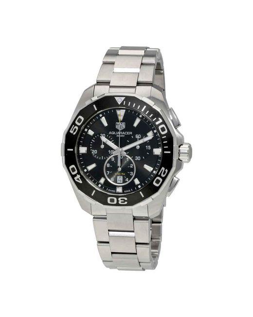 Tag Heuer Metallic Aquaracer Chronograph Black Dial Mens Watch for men