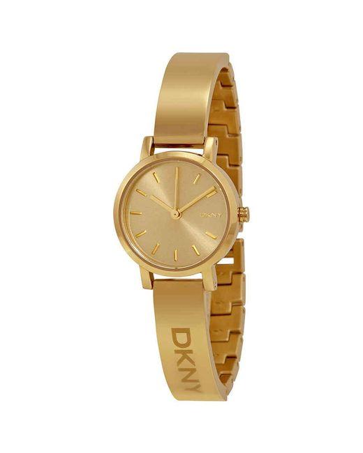 DKNY Metallic Soho Round Champagne Dial Gold-tone Ladies Watch
