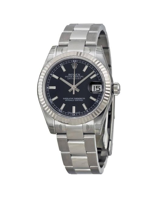Rolex Metallic Datejust Lady 31 Black Dial Stainless Steel Oyster Bracelet Automatic Watch